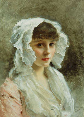 Beautiful Portrait Painting - Portrait Of A Lady In A White Bonnet by Gustave Jean Jacquet
