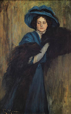 Boa Constrictor Painting - Portrait Of A Lady In Blue by Raimundo Madrazo