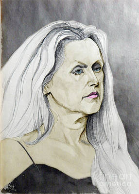 Painting - Portrait Of A Lady In White And Black by Greta Corens