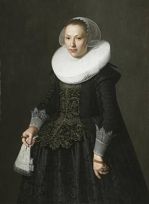 Ruff Painting - Portrait Of A Lady by Nicolaes Eliasz