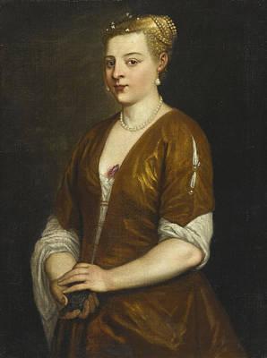 Alessandro Varotari Painting - Portrait Of A Lady Three-quarter Length Holding A Kitten by Alessandro Varotari