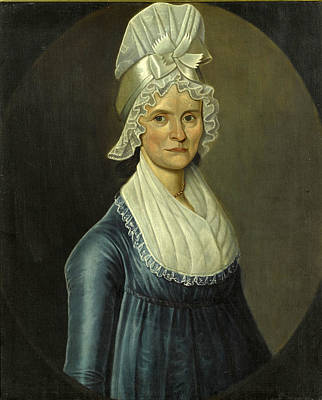 William Jennys Painting - Portrait Of A Lady Wearing White Headdress by William Jennys