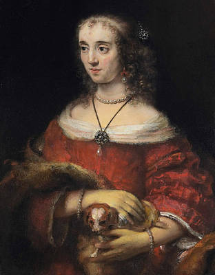 Portrait Of A Lady With A Lap Dog Art Print by Rembrandt