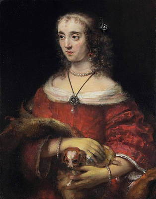 Netherlands Painting - Portrait Of A Lady With A Lap Dog by Rembrandt van Rijn