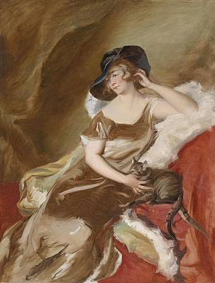 Adolf Painting - Portrait Of A Lady With Cat by Adolf Pirsch