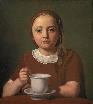 Painting - Portrait Of A Little Girl, Elise Kobke, With A Cup In Front Of Her by Constantin Hansen