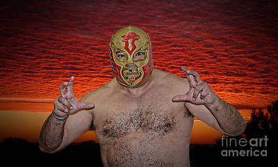 Photograph - Portrait Of A Luchador Chicano Flame At The End Of A Day by Jim Fitzpatrick