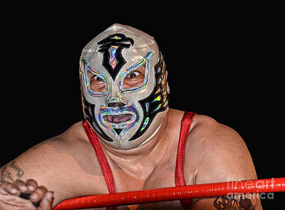 Tattoo Photograph - Portrait Of A Luchador Chicano Flame by Jim Fitzpatrick