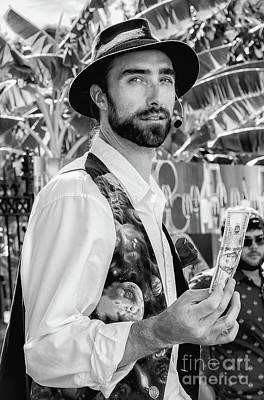 Photograph - Portrait Of A Magician - Nola-bw by Kathleen K Parker