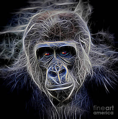 Photograph - Portrait Of A Male Ape Digitally Altered by Jim Fitzpatrick