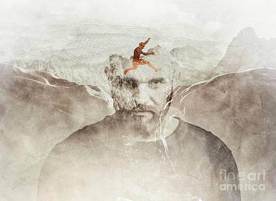 Photograph - Portrait Of A Man And Mountains. Double Exposure. by Michal Bednarek