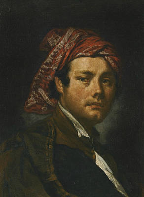 Late 18th Century Painting - Portrait Of A Man, Bust-length, Wearing A Red Headscarf by Fra Galgario