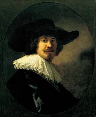 Painting - Portrait Of A Man In A Broad-brimmed Hat by Rembrandt