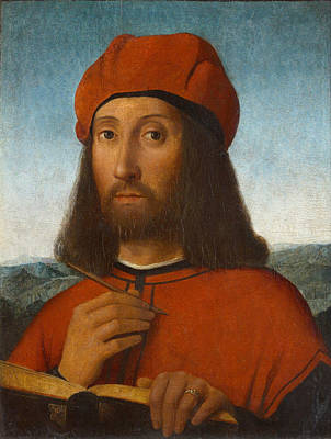 Antonello Painting - Portrait Of A Man With Red Beret And Book by Antonello de Saliba