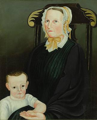 Portrait Of A Mother And Child Sitting Art Print