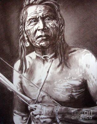 Worthy Painting - Portrait Of A Native Warrior by Marina Seredyuk