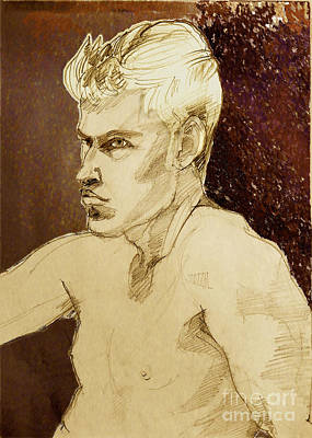 Painting - Portrait Of A Young Man With Strong Profile by Greta Corens