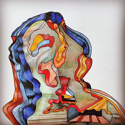 Synesthesia Drawing - Portrait Of A Person Who Has Seemed To Be A Friend by Daria Starostina