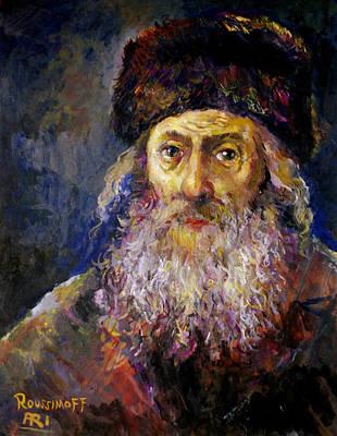 Roussimoff Wall Art - Painting - Portrait Of A Rabbi by Ari Roussimoff