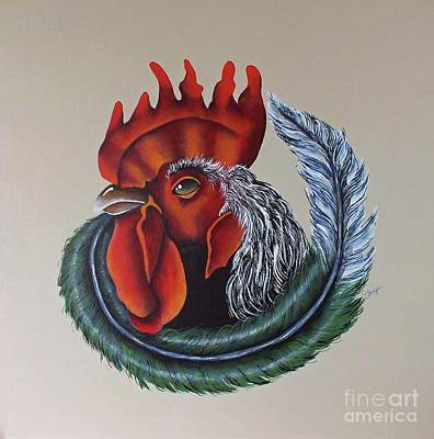 Marvelous Marble - Portrait Of A Rooster - Acrylic Painting by Cindy Treger