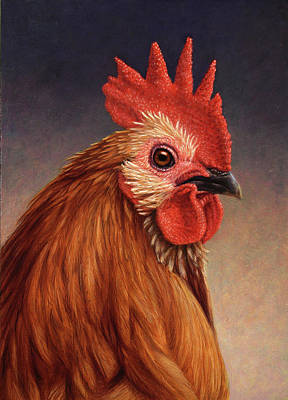 Rooster Wall Art - Painting - Portrait Of A Rooster by James W Johnson