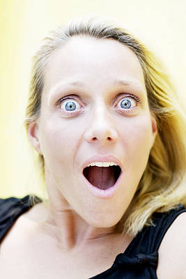 Photograph - Portrait Of A Surprised Blond Woman  by Newnow Photography By Vera Cepic