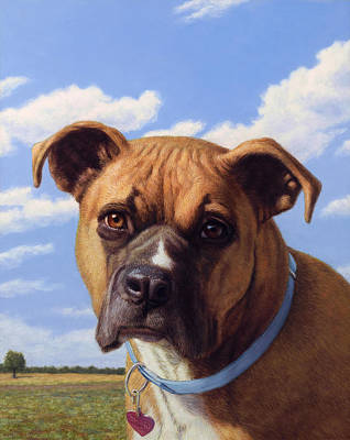Boxer Dog Painting - Portrait Of A Sweet Boxer by James W Johnson