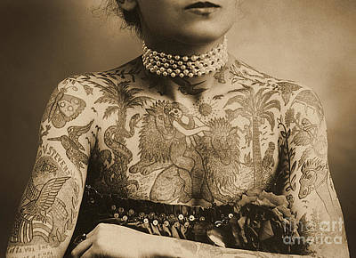 Females Torsos Photograph - Portrait Of A Tattooed Woman by English School