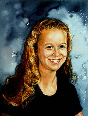 Hand-painted Portraits Painting - Portrait Of A Teen Girl by Hanne Lore Koehler