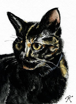 Tortie Painting - Portrait Of A Tortie Cat by David M Porter