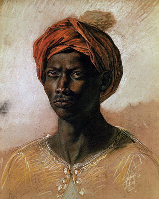 Black Man Painting - Portrait Of A Turk In A Turban by Ferdinand Victor Eugene Delacroix