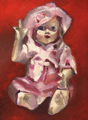 Doll Painting - Portrait Of A Vintage Doll Art Print by Tommervik