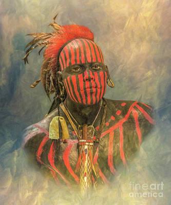 Huron Indian Digital Art - Portrait Of A Warrior by Randy Steele