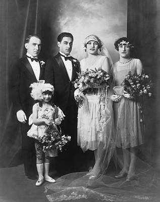 Newlyweds Photograph - Portrait Of A Wedding Party by Underwood Archives