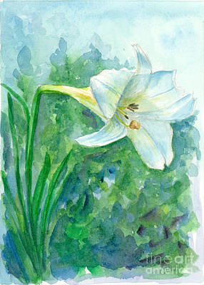 Painting - Portrait Of A White Lily by Cathie Richardson