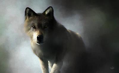 Digital Art - Portrait Of A Wolf by Daniel Eskridge
