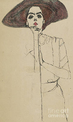 Drawing - Portrait Of A Woman, 1910 by Egon Schiele