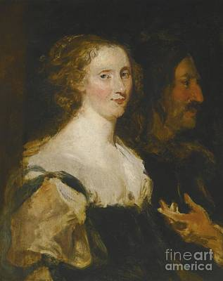 Flemish School Painting - Portrait Of A Woman And An Officer by MotionAge Designs