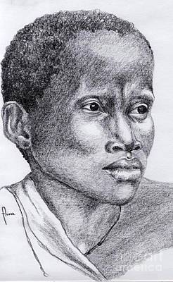 Drawing - Portrait Of A Woman by Annemeet Hasidi- van der Leij