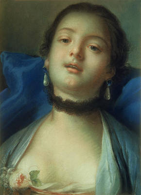 Portrait Of A Woman  Art Print by Francois Boucher