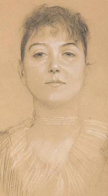 Gazing Drawing - Portrait Of A Woman by Gustav Klimt