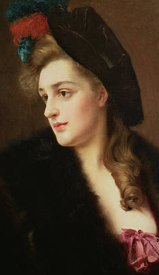 Portrait Of A Woman In A Hat Art Print by Gustave Jacquet