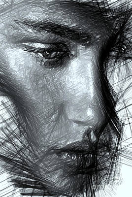 Digital Art - Portrait Of A Woman In Black And White by Rafael Salazar