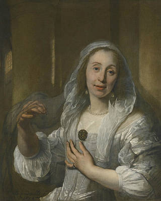 Painting - Portrait Of A Woman In White by Bartholomeus van der Helst