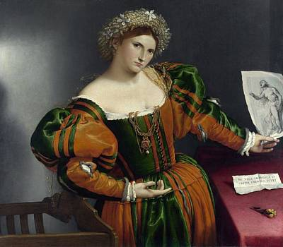 Portrait Of A Woman Inspired By Lucretia Art Print by Lorenzo Lotto