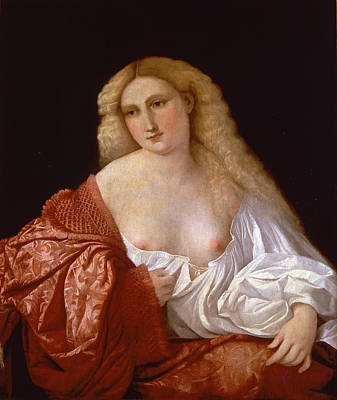 Palma Vecchio Painting - Portrait Of A Woman Know As Portrait Of A Courtsesan by Palma Vecchio