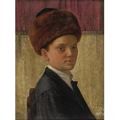 Isidor Kaufmann Painting - Portrait Of A Yeshiva Boy by MotionAge Designs