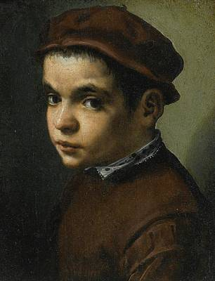 Portrait Of A Young Boy Bust Length Facing Left Dressed In A Maroon Doublet And Cap Art Print by Michele Tosini