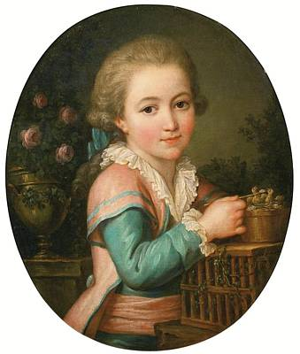 1754 Painting - Portrait Of A Young Boy Feeding Two Birds by MotionAge Designs