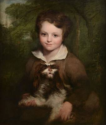Portrait Of A Young Boy Holding A Dog Art Print by Richard Rothwell